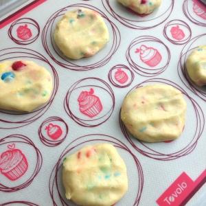 Funfetti Cake Mix Cookies on Mat