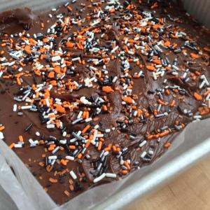 Halloween Chocolate Fudge in Pan with Sprinkles