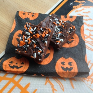 Halloween Chocolate Fudge on Napkin