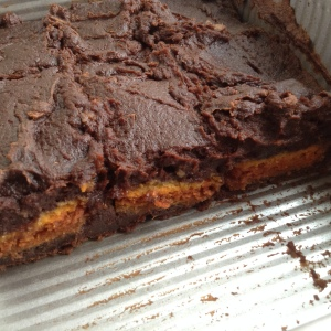 Three Ingredient Pumpkin Oreo Brownies in Pan