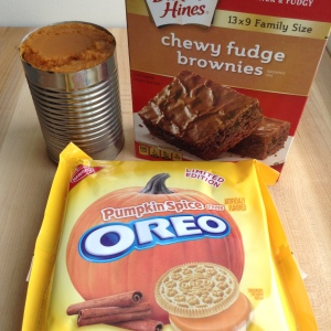 Three Ingredient Pumpkin Oreo Brownies Ingredients