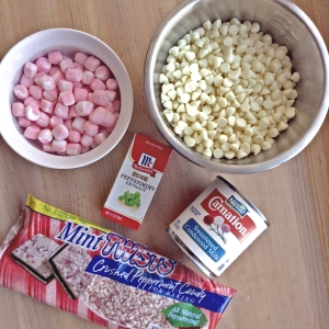 Festive Peppermint Fudge Ingredients