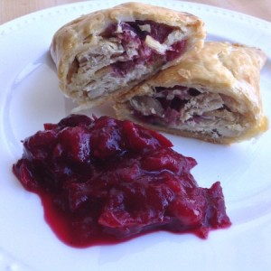 Boxing Day Pasties In Half With Cranberry Sauce