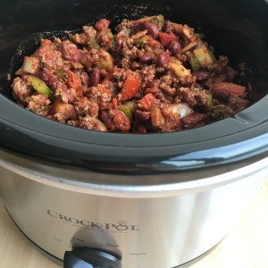 Spicy Beef Chili Close Up Raw In Slow Cooker