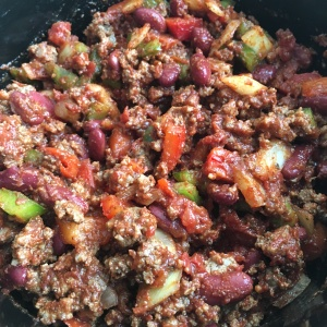Spicy Beef Chili Close Up Ready to Cook