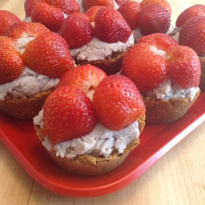 Strawberry Coconut Cream Tarts Plate Angle