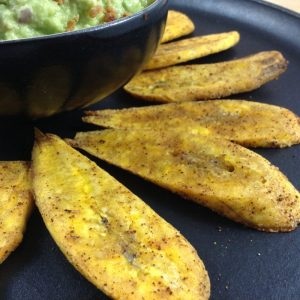 Plantain Chips with Bacon Guacamole