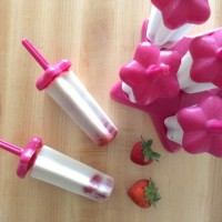 Healthy, 5 Ingredient, No Added Sugar, Strawberry & Coconut Ice Pops