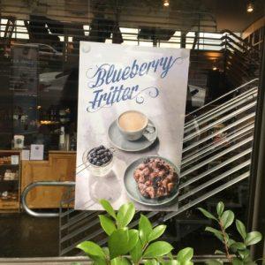 Top Pot Doughnuts Blueberry Fritter Sign Window