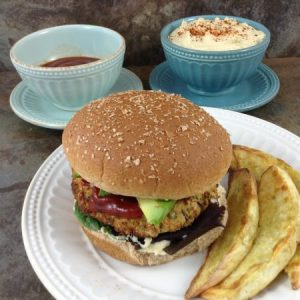 Falafel Burgers with Harissa Ketchup and Hummus