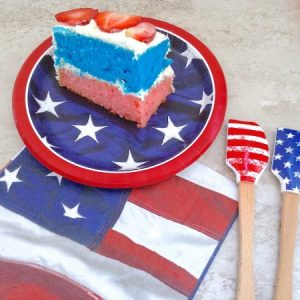 Stars Stripes Cake Cut Slice