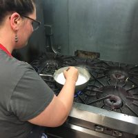 Dahlia Bakery Coconut Cream Pie Filling on hob