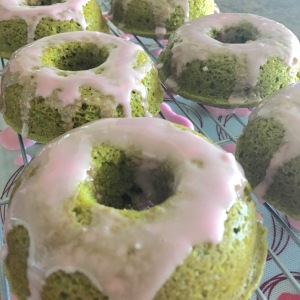 Matcha Green Tea and Rose Donuts Frosted