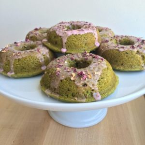 Matcha Green Tea and Rose Donuts on Cake Plate