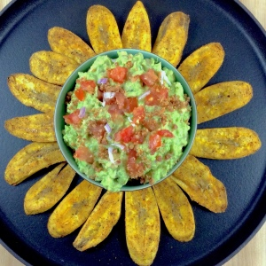 Bacon Guacamole Plantain Chips Overhead
