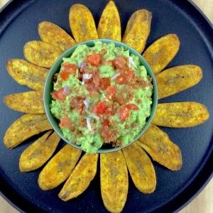 Bacon Guacamole Plantain Chips Overhead