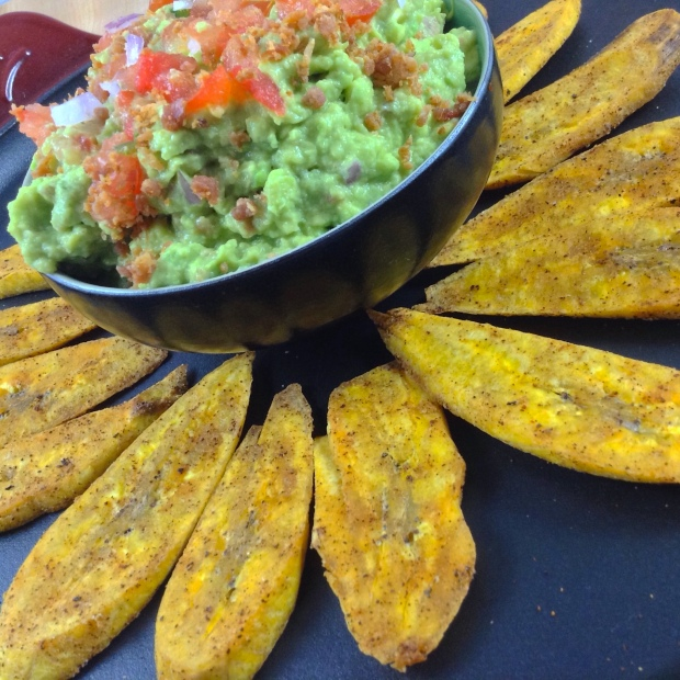 Bacon Guacamole with Plantain Chips