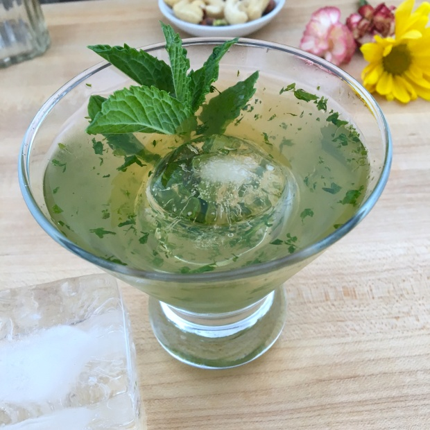 mint julep overhead with sphere ice king cube ice