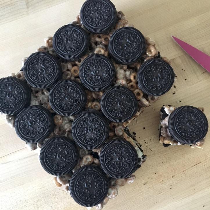 Cookies and Cream Dessert Bars - Cut Overhead